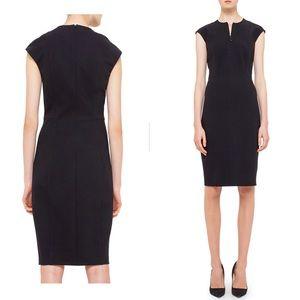 Akris Punto Cap-Sleeve Seamed Black Dress